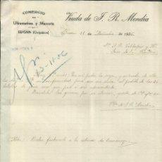 Cartas comerciais: CARTA COMERCIAL DE VDA. DE F.R. MENDÍA. COMERCIO DE ULTRAMARINOS Y MERCERÍA. BEASAIN. GUIPÚZCOA.1936. Lote 43003768