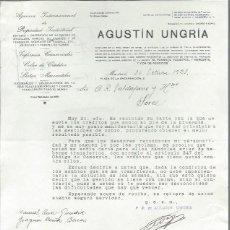 Cartas comerciais: CARTA COMERCIAL AGUSTIN UNGRÍA, AGENCIA INT PROPIEDAD INDUSTRIAL, MADRID 30 OCTUBRE 1928. Lote 43009052
