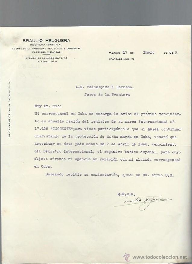 CARTA COMERCIAL BRAULIO HELGUERA, INGENIERO INDUSTRIAL, MADRID 17 ENERO 1936 (Coleccionismo - Documentos - Cartas Comerciales)