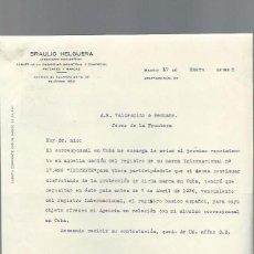 Cartas comerciales: CARTA COMERCIAL BRAULIO HELGUERA, INGENIERO INDUSTRIAL, MADRID 17 ENERO 1936. Lote 43053163