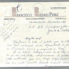 Cartas comerciais: CARTA COMERCIAL ULTRAMARINOS FRANCISCO PIEDRAS PÉREZ, CASILLAS DE MARTOS, JAEN, 12 NOVIEMBRE 1951. Lote 43135113