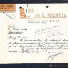 Cartas comerciales: A CORUÑA. LINARES - FERROL. *VDA. DE S. GARCÍA. FÁBRICA DE ATAÚDES...* FECHADA 1949.. Lote 43137219