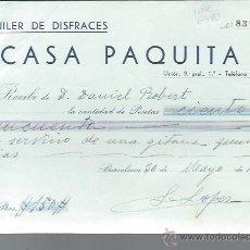 Lettres commerciales: CARTA COMERCIAL ALQUILER DE DISFRACES CASA PAQUITA, BARCELONA 30 MAYO 1936. Lote 43142732