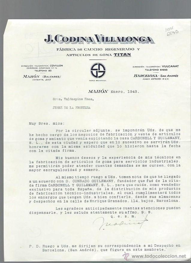 CARTA COMERCIAL J.CODINA VILLALONGA, FÁBRICA DE CAUCHO, MAHÓN, ENERO 1943 (Coleccionismo - Documentos - Cartas Comerciales)