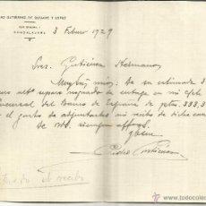 Cartas comerciales: CARTA COMERCIAL DE PEDRO GUTIÉRREZ DE QUIJANO Y LÓPEZ. GUADALAJARA. 1929 . Lote 43256779