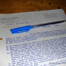 Cartas comerciales: VIUDA DE F ESTELA, ARROCES. VALENCIA 1923.. Lote 43351990