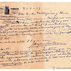 Cartas comerciales: CARTA COMERCIAL DE HOTEL FORNOS. CALATAYUD (ZARAGOZA). 1935.. Lote 43359881