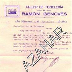 Cartas comerciales: DOS HERMANAS,SEVILLA, 1927, CARTA COMERCIAL DE TALLER DE TONELERIA. RAMON GENOVES.. Lote 43735239