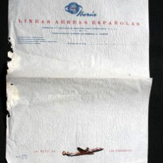 Cartas comerciales: IBERIA - HOJA CARTA - AVENIDA AMERICA - RUTA DE LAS CARABELAS- 28X22CM - 1956 - LINEAS AEREAS ESPAÑO. Lote 43770052