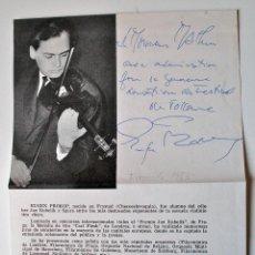 Cartas comerciales: HOJA CON DEDICATORIA Y FIRMA ORIGINALES DEL VIOLINISTA, EUGENIO PROKOP!! 1965. Lote 43955658