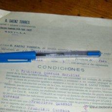 Cartas comerciales: R SAENZ TORRES, ACEITES Y GRASAS LUBRIFICANTES. CONTRATO DE REPRESENTACION. SEVILLA OCTUBRE 1933.. Lote 44002190