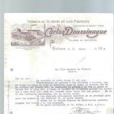 Cartas comerciales: CARTA COMERCIAL FÁBRICA DE TEJIDOS DE LOS PIRINEOS, CARLOS DOUSSINAGUE, TOLOSA 3 ENERO 1924. Lote 151428318