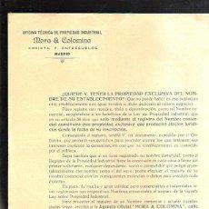Cartas comerciales: CARTA COMERCIAL. MORA Y COLOMINA. PATENTES Y MARCAS. MADRID. CON TARIFA PARA ESPAÑA.. Lote 44052560