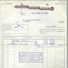Cartas comerciales: CARTA COMERCIAL FERRETERÍA GREGORIO ALONSO, GIJÓN 29 ENERO 1943. Lote 44072207