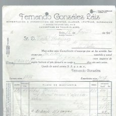 Cartas comerciales: CARTA COMERCIAL FERNANDO GONZÁLEZ LÁIZ, CEREALES, LEÓN 18 ENERO 1943. Lote 44078131