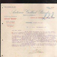 Cartas comerciales: CARTA COMERCIAL. ANTONIO GALLUD PARODI. GASEOSAS Y AGUA DE SELTZ. CERVEZA MAHOU. CARTAGENA. 1924. Lote 178598253
