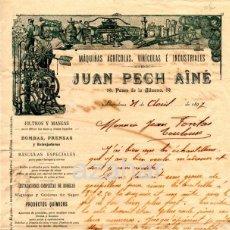 Cartas comerciales: BARCELONA,1897, CARTA COMERCIAL JUAN PECH AINE, MAQUINAS AGRICOLAS,VINICOLAS E INDUSTRIALES. Lote 44360597