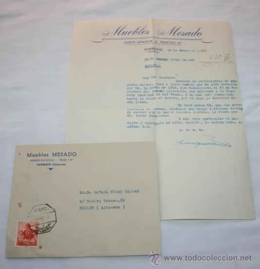 CARTA EN SOBRE DE MUEBLES MESADO POR DEVOLUCION DE LETRA, VALENCIA 1961, SELLOS ANTIGUOS (Coleccionismo - Documentos - Cartas Comerciales)