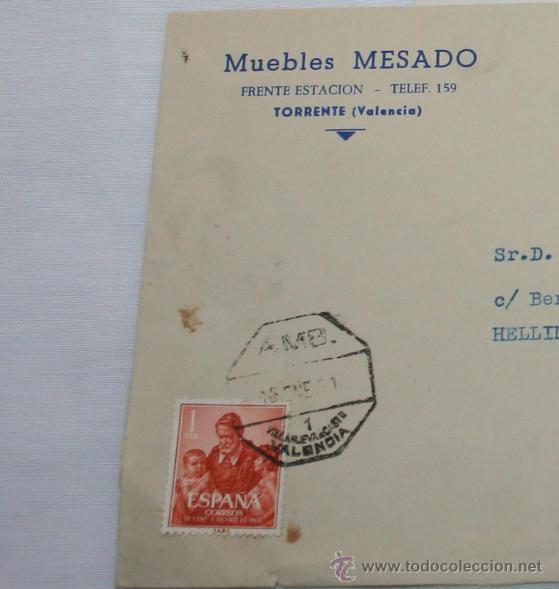 Cartas comerciales: CARTA EN SOBRE DE MUEBLES MESADO POR DEVOLUCION DE LETRA, VALENCIA 1961, SELLOS ANTIGUOS - Foto 2 - 44561465