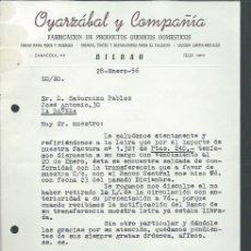 Cartas comerciales: CARTA COMERICAL FABRICACIÓN DE PRODUCTOS QUÍMICOS DOMÉSTICOS OYARZÁBAL Y CÍA, BILBAO 28 ENERO 1956. Lote 109048658
