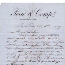 Cartas comerciales: CARTA COMERCIAL DE PERÍA & COMPª. JEREZ DE LA FRONTERA. 1889.. Lote 44744724