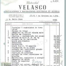 Cartas comerciales: CARTA COMERCIAL ELECTRICIDAD VELASCO, SEVILLA 1 OCTUBRE 1954. Lote 44850673