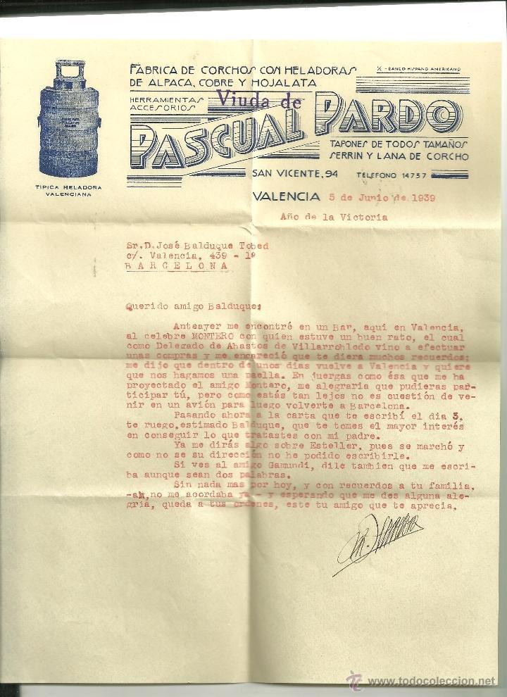 3388.- CORCHO-SURO-CARTA COMERCIAL CON MEMBRETE DE LA FABRICA DE CORCHOS PASCUAL PARDO DE VALENCIA (Coleccionismo - Documentos - Cartas Comerciales)