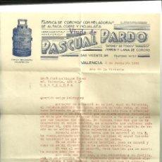 Cartas comerciais: 3388.- CORCHO-SURO-CARTA COMERCIAL CON MEMBRETE DE LA FABRICA DE CORCHOS PASCUAL PARDO DE VALENCIA. Lote 44885145