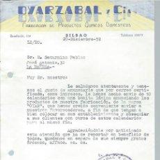 Cartas comerciales: CARTA COMERCIAL OYARZABAL Y CIA, PRODUCTOS QUÍMICOS DOMÉSTICOS, BILBAO 20 DICIEMBRE 1952. Lote 44894779