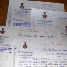 Cartas comerciales: COÑAC VALEROSO, VIUDA DE EDMUNDO GRANT. PUERTO DE SANTA MARIA, CADIZ. LOTE DE DOCUMENTOS AÑOS 40.. Lote 44959199