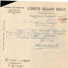 Cartas comerciales: FÁBRICA DE GASEOSAS. ALMACÉN DE VINOS. ANICETO SALADO BELLO. ARROYO DEL PUERCO. CÁCERES.1929 FIRMA.. Lote 44966114