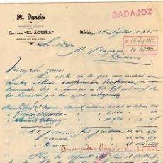 Cartas comerciales: M. DURÁN. CERVEZA EL AGUILA. MÉRIDA. BADAJOZ. FIRMA.. Lote 44986135