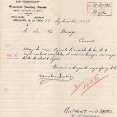 Cartas comerciales: MARCELINO SÁCHEZ VICENTE. BAR FERROVIARIO. NAVALMORAL DE LA MATA. CÁCERES. VINOS, CERVEZAS 1933. Lote 45068906