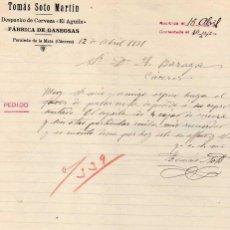 Cartas comerciales: TOMÁS SOTO MARTÍN. DESPACHO DE CERVEZA EL AGUILA. FÁBRICA DE GASEOSA. PERALEDA DE LA MATA CÁCERES. Lote 45095938