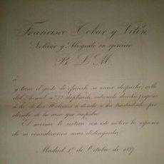Cartas comerciales: CARTA DE PRESENTACION DE FRANCISCO TOBAR Y VITON NOTARIO Y ABOGADO MADRID 1887. Lote 45113175