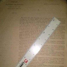 Cartas comerciales: COMPAÑIA DE TELEGRAFOS CABLES DE VIGO COMUNICACION TELEGRAFICA SUBMARINA DIRECTA 1879. Lote 45125333