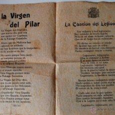 Cartas comerciales: CANCION DEL LEGIONARIO, A LA VIRGEN DEL PILAR, HIMNO A LA BANDERA, LIMON, LIMONERO! DIPTICO FRANCO. Lote 45265862
