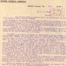Lettere commerciali: MANUEL BORREGA REMEDIOS. BROZAS CÁCERES. FIRMA PROPIETARIO.. Lote 45314757