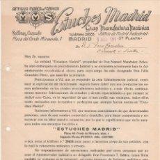 Cartas comerciales: RARA CARTA COMERCIAL ESTUCHES MADRID: GRAN MANUFACTURA MECÁNICA. MADRID 1945. Lote 45370473