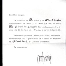 Cartas comerciales: CARTA INVITACIÓN FIESTA. OH! FLASH BACK SALOU 85. DISCOTECA OH!, ZARAGOZA. 1985.. Lote 45478075