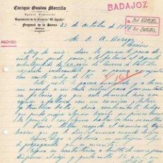Cartas comerciales: ENRIQUE GUSTOS MORCILLO. DEPOSITARIO CERVEZA EL AGUILA. FREGENAL DE LA SIERRA. BADAJOZ.. Lote 45500563