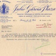 Cartas comerciales: JULIO GARCIA PLAZA. MARCA SAN ANTONIO. PIMENTÓN Y FRUTOS DEL PAIS. JARAIZ DE LA VERA. CÁCERES.. Lote 45513815