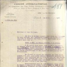 Cartas comerciales: CARTA COMERCIAL DE COMITÉ INTERNATIONAL DU COMMERCE DES VINS. PARIS. FRANCIA. 1923. Lote 45730041