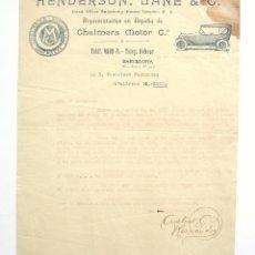 Cartas comerciales: CARTA COMERCIAL CHALMERS MOTOR COMPANY. HENDERSON LANE. BARCELONA 1919. Lote 45758669