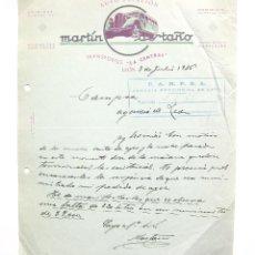 Cartas comerciales: CARTA COMERCIAL TRANSPORTES LA CENTRAL AUTOESTACIÓN MARTIN CASTAÑO CAMPSA. LEÓN 1936. Lote 45760459