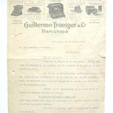 Cartas comerciales: CARTA COMERCIAL GUILLERMO TRUNIGER & COMPANY. MAQUINAS ESCRIBIR UNDERWOOD. BARCELONA 1919. Lote 45760590