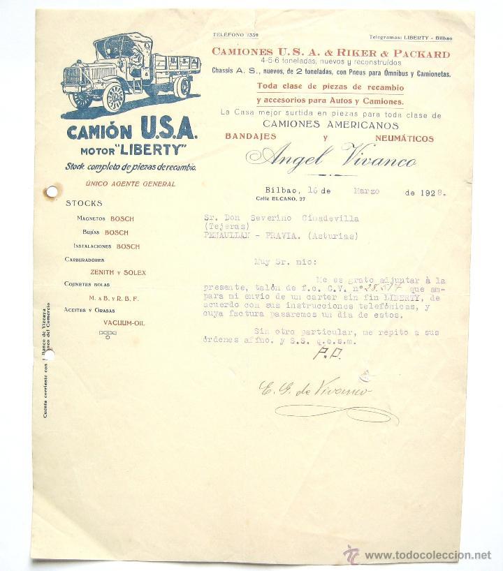 CARTA COMERCIAL CAMION U.S.A & RICKER & PACKARD MOTOR LIBERTY. CAMIONES ANGEL VIVANCO BILBAO 1928 (Coleccionismo - Documentos - Cartas Comerciales)