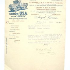 Cartas comerciales: CARTA COMERCIAL CAMION U.S.A & RICKER & PACKARD MOTOR LIBERTY. CAMIONES ANGEL VIVANCO BILBAO 1928. Lote 193901532