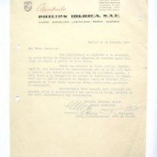 Cartas comerciales: CARTA COMERCIAL ALUMBRADO PHILIPS IBERICA. MADRID 1957. Lote 45760901