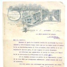 Cartas comerciales: CARTA COMERCIAL ALMACEN TEXTIL AL POR MAYOR MULLER HERMANOS BARCELONA AÑO 1910. Lote 45761806